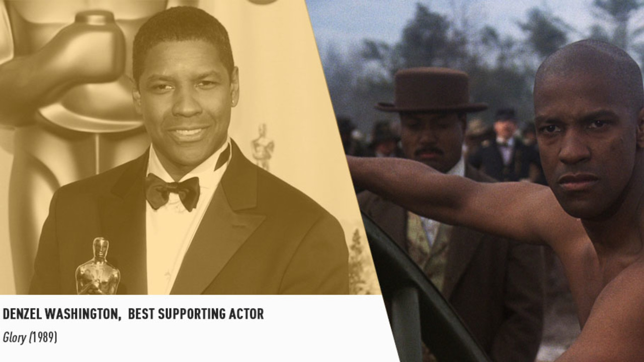 Acting great Denzel Washington won the first of two Oscars for his powerful performance in GLORY.