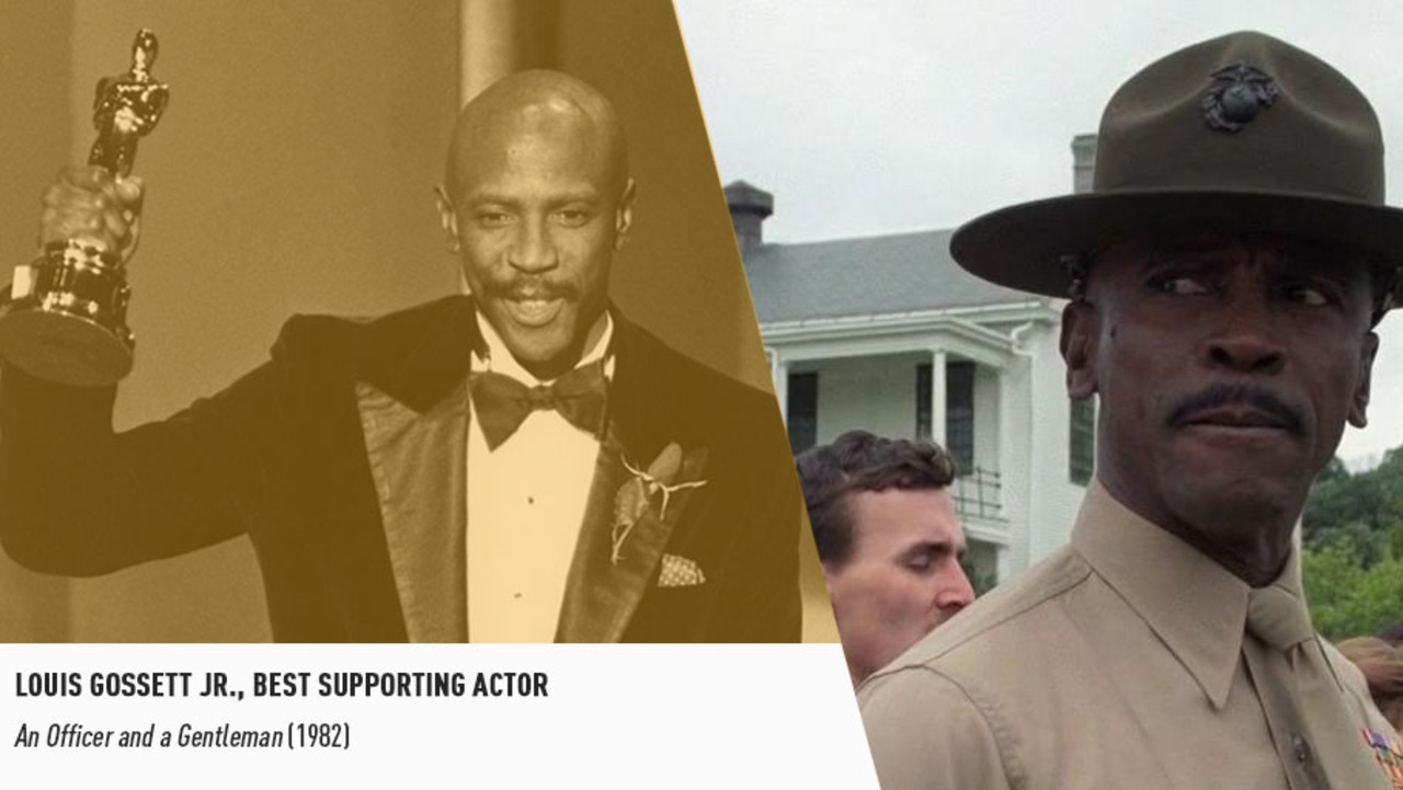 Character actor Louis Gossett, Jr. is the first black performer to nab a Supporting Actor trophy.