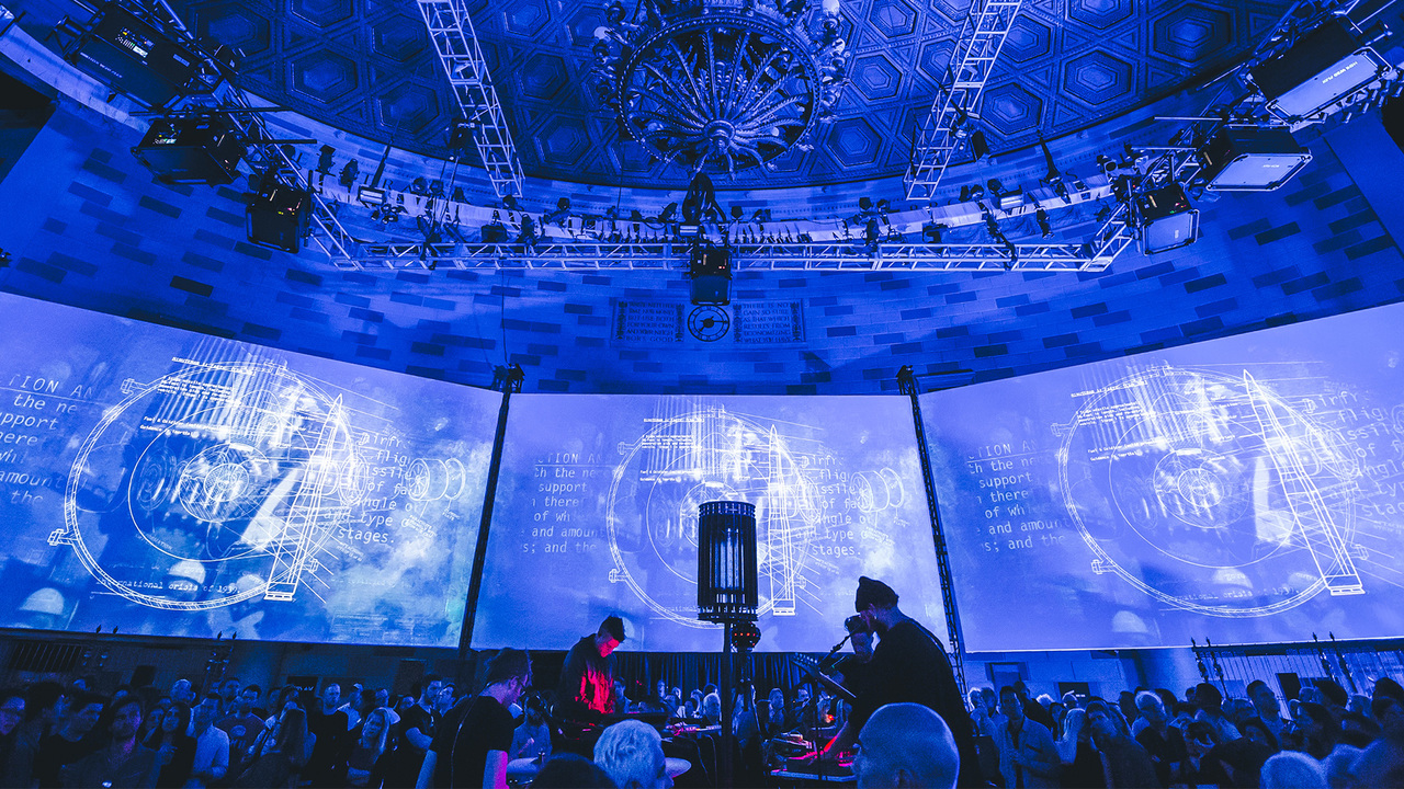 Staged by United Visual Artists, the bomb places audience members in the middle of 360°, eight-screen presentation about the dangers of nuclear weapons, using archival footage to cover everything from the Manhattan Project and Cold War paranoia.
