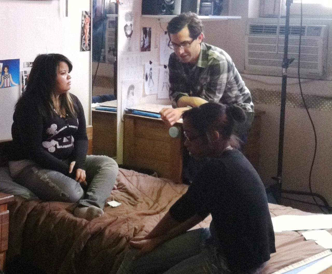 KNOW HOW director Juan Carlos Pineiro Escoriaza working with Claribelle Pagan.