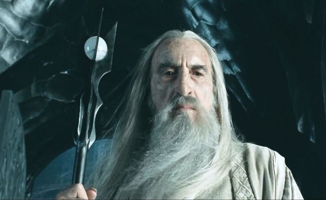 Christopher Lee as Saruman in the LORDS OF THE RINGS trilogy.