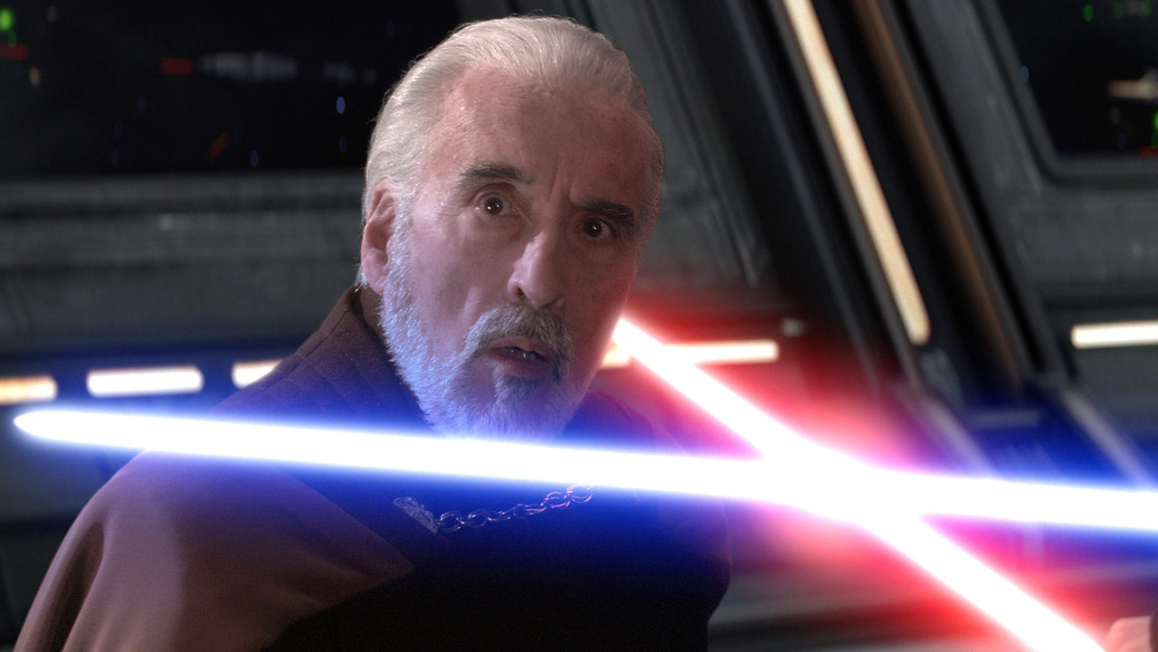 Christopher Lee as Count Dooku in the STAR WARS prequel trilogy.