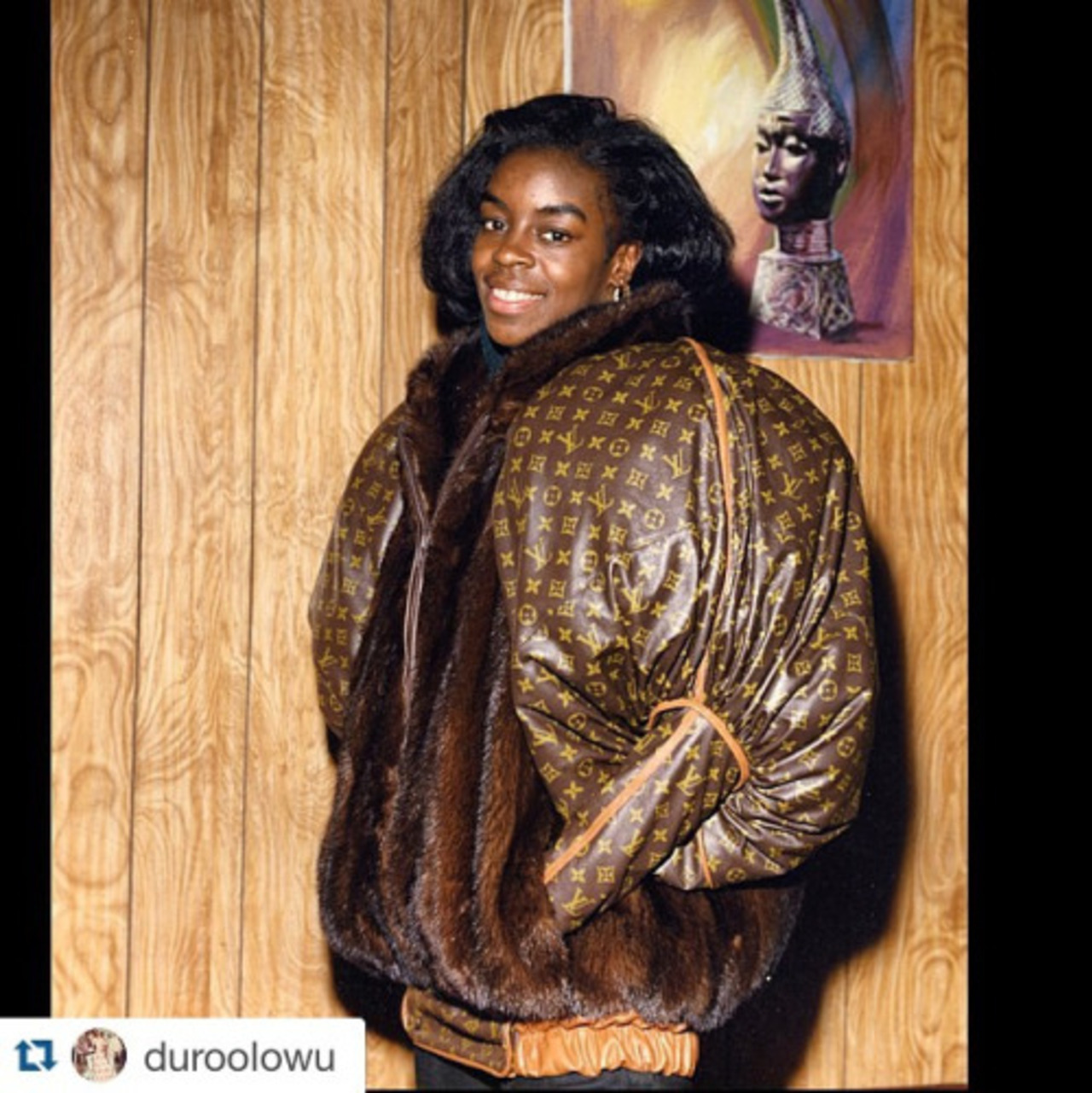Olympic gold and silver medalist Diane Dixon in jacket by 1980s Harlem Hip Hop tailor Dapper Dan. #style #hiphop #chic #harlem #DapperDanHarlem. Hear Dapper Dan's story in #FreshDressed