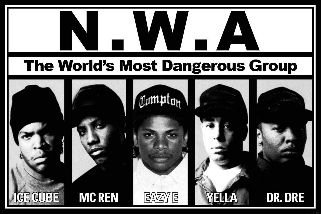 The real-life N.W.A. lineup, circa 1989